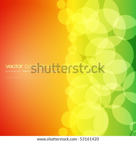 Glittering orange, yellow and green lights background with text - vector - stock vector
