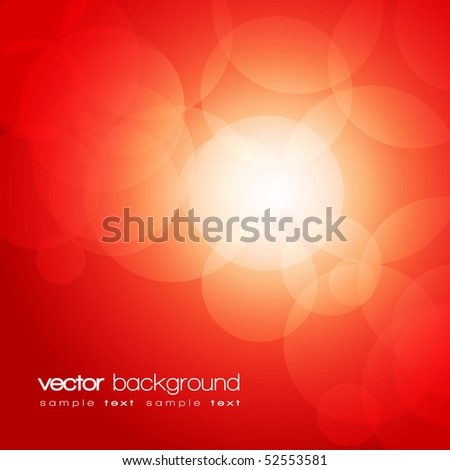 Glittering red lights background with text - vector - stock vector