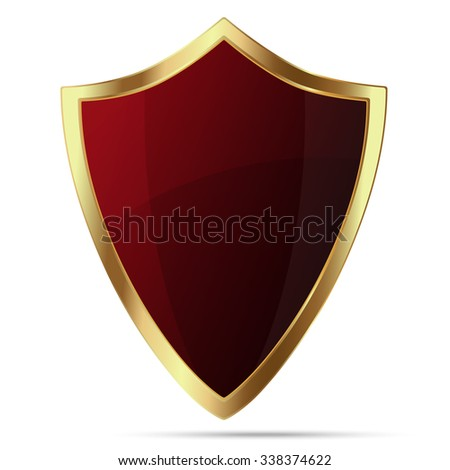 Glittering red shield with gold body isolated on white background - stock vector