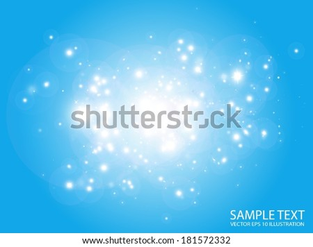 Glittering  space vector  background  flares and sparks - Vector  blue entity in space  background illustration - stock vector