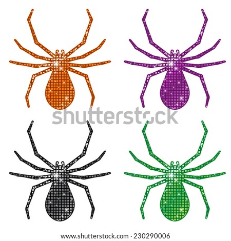 Glittering Spiders - stock vector