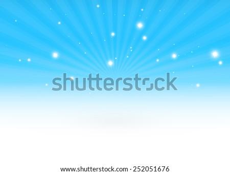 Glittering vector 3D blue burst scene design background template - Vector blue space blast design background illustration - stock vector