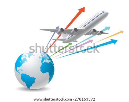 Global airplane - stock vector
