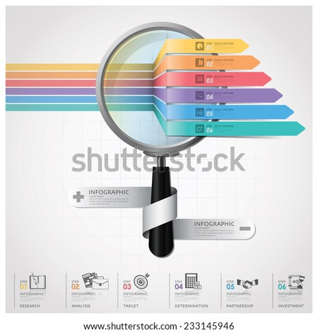 Global Business And Financial Infographic With Magnifying Glass Arrow Diagram Design Template - stock vector