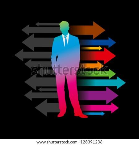 Global business arrow with businessman - stock vector