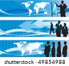 Global business banner set - stock vector
