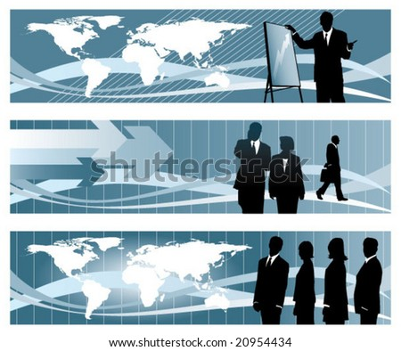 Global business banners set 1 - stock vector
