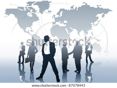 Global Business - business concept background, vector