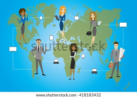 Global Business. Business concept,communication between businessmen using smart gadgets, flat design, vector illustration - stock vector