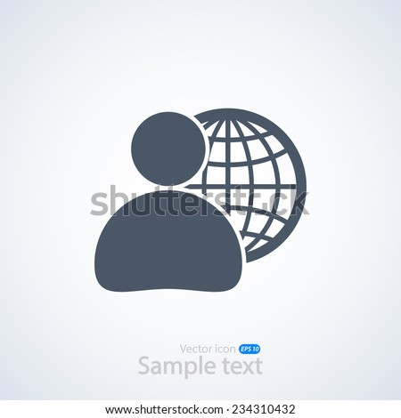 global business, business man icon, vector illustration. Flat design style - stock vector