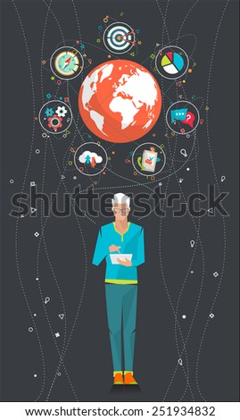 Global business concept. Communication in the global networks. Concept of social media network.  Vector illustration. - stock vector