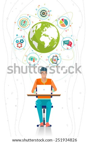 Global business concept. Communication in the global networks.Multitasking in business. Long-distance administration and management. Concept of social media network.  Vector illustration. - stock vector