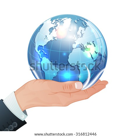 Global Business Concept - Hand with Earth in Realistic 3D style. Vector Template can be used for Cover, Brochure, Poster and Printing Advertising.