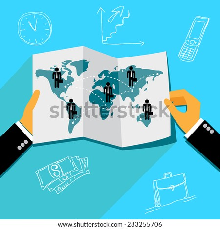 global business concept in flat design, vector, Vector web design and infographic - stock vector