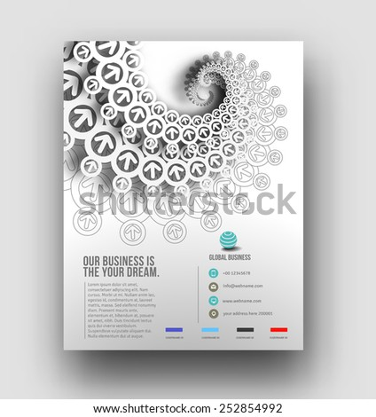 Global Business Flyer Template Design - stock vector