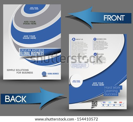 Global Business Front & Back Flyer Template - stock vector