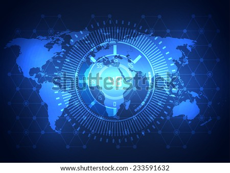 Global business network technology background, vector - stock vector