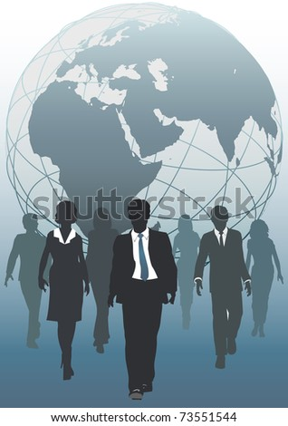 Global business team emerging from globe as symbol of human resources workforce - stock vector