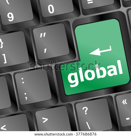 Global button on the keyboard - business concept vector illustration