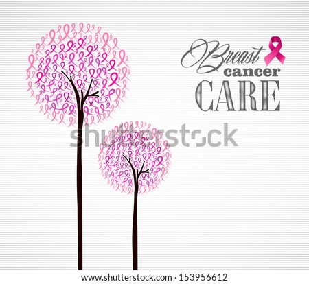 Global collaboration breast cancer awareness concept illustration. Abstract tree composition with ribbon symbols. EPS10 vector file organized in layers for easy editing. - stock vector