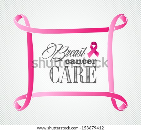 Global collaboration breast cancer awareness concept illustration. Simple frame banner background. EPS10 vector file organized in layers for easy editing. - stock vector