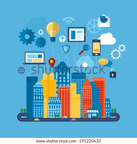 Global communication and navigation concept with flat icons. Vector illustration - stock vector