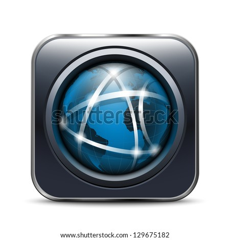 Global Communication App Icon - stock vector