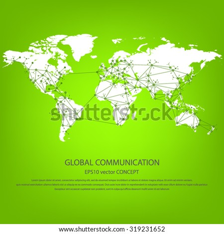 Global communication - EPS10 vector concept. All mayor - biggest cities are pointed on detailed world map.. Masses of copy space for your text.Can be used in any project