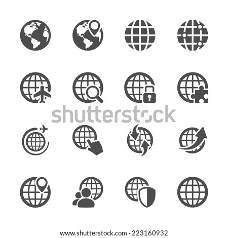 global communication icon set, vector eps10. - stock vector