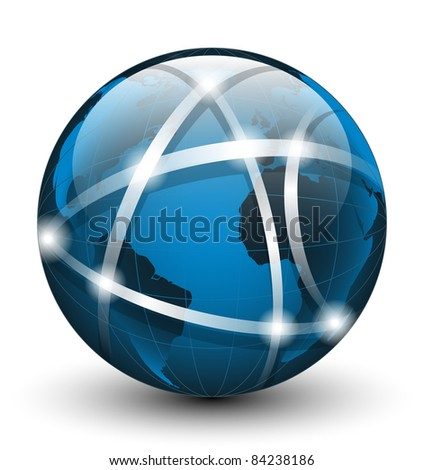 Global communication icon. Vector illustration - stock vector