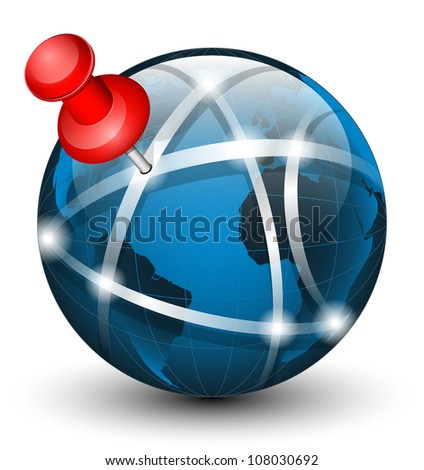 Global communication icon with pointer. Vector illustration - stock vector