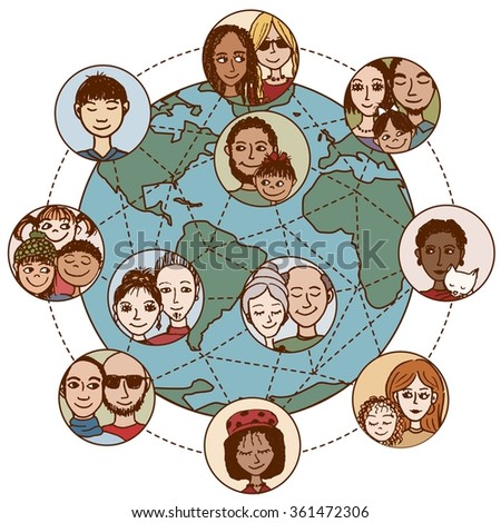 Global communications: Hand drawn people, families, couples, friends, connected world wide - stock vector