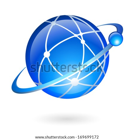 Global connection and navigation technology concept isolated vector illustration - stock vector
