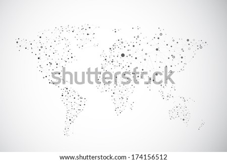 Global connection of cells on the gray background. - stock vector