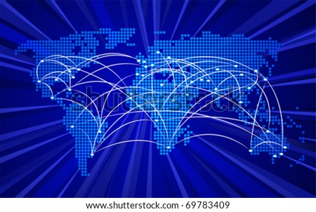 Global connections concept, no transparencies used - stock vector