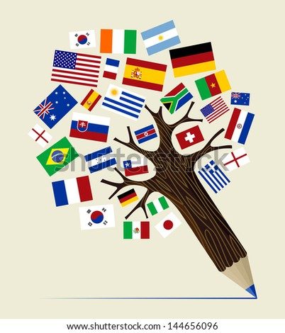 Global countries  concept pencil tree design. Vector illustration layered for easy manipulation and custom coloring. - stock vector