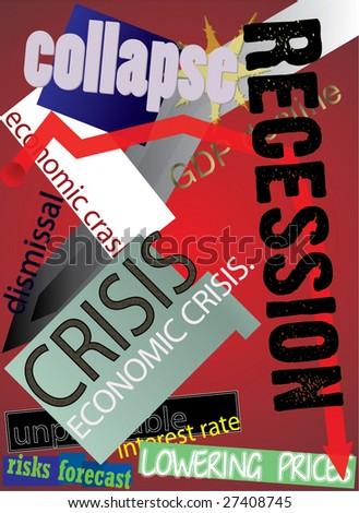 Global crisis. Postcard - stock vector