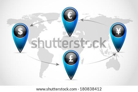 Global Currency Exchange  - stock vector