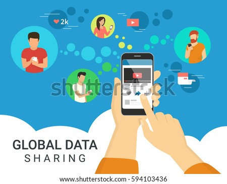 Global data sharing data concept vector illustration of young people using mobile smartphone to share posts and news in social networks. Flat hand holds smart phone to make repost of video and news