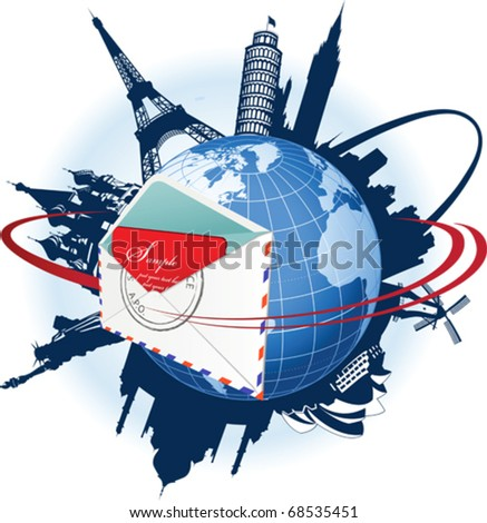 Global e-mail concept. All elements and textures are individual objects. Vector illustration scale to any size. - stock vector
