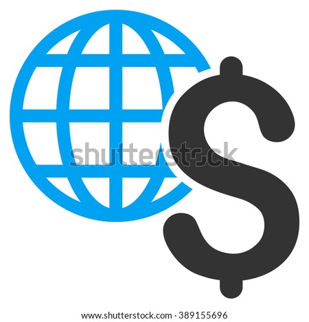 Global Economics vector icon. Style is bicolor flat symbol, blue and gray colors, white background. - stock vector