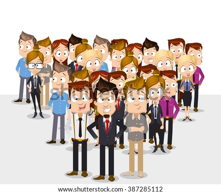 Global  ethnic team of successful business people standing - stock vector