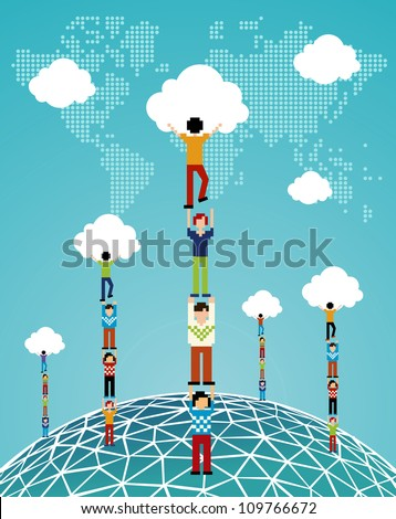 Global expansion of cloud computing concept illustration. Vector illustration layered for easy manipulation and custom coloring. - stock vector