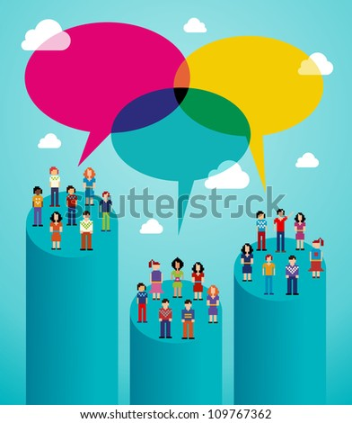 Global expansion of social network population interaction using cloud computing. Vector illustration layered for easy manipulation and custom coloring. - stock vector