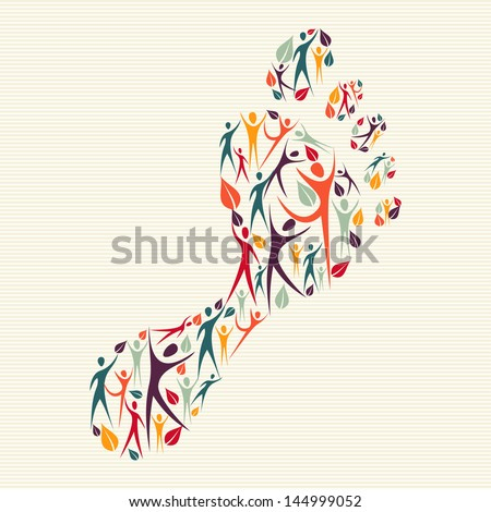 Global family concept footprint shape made with and human silhouettes. Vector file layered for easy manipulation and custom coloring. - stock vector