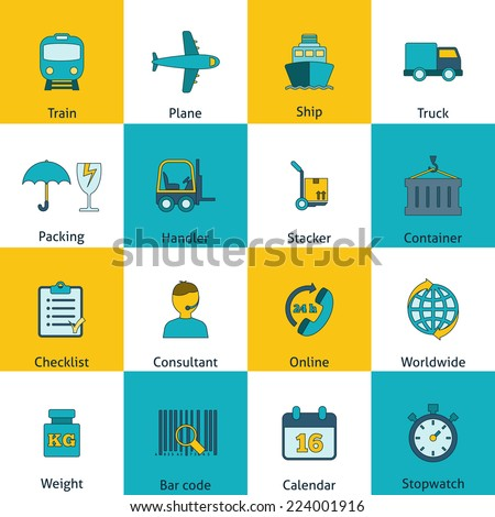 Global freight railway transportation logistics flat icons set with train container delivery operator abstract isolated vector illustration