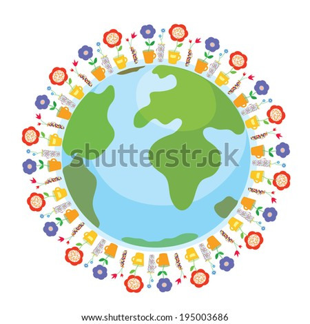 Global gardening - world with flowers and pots - concept illustration - stock vector