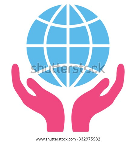 Global Hands vector icon. Style is bicolor flat symbol, pink and blue colors, rounded angles, white background.