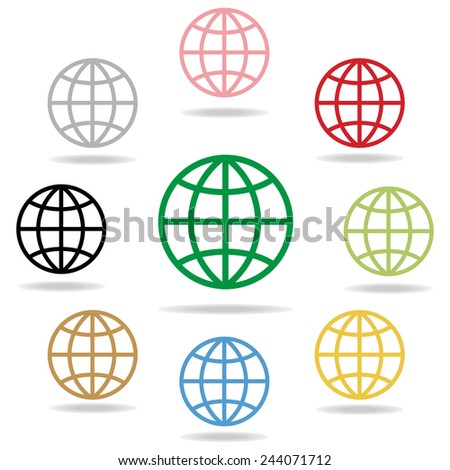 global icon : colorful on white background vector