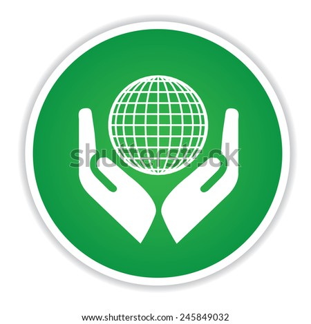 Global icon on green button background,clean vector - stock vector